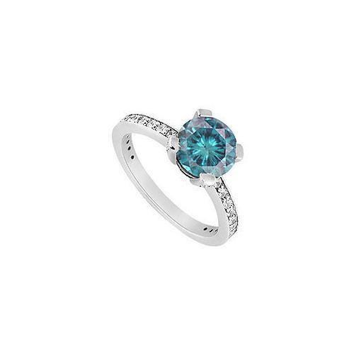 Fancy Blue Diamond Ring : 14K White Gold - 1.50 CT Diamonds-JewelryKorner-com