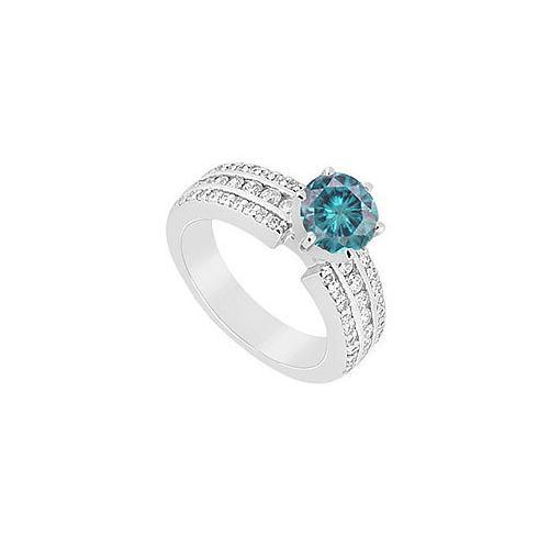 Fancy Blue Diamond Ring : 14K White Gold - 1.75 CT Diamonds-JewelryKorner-com