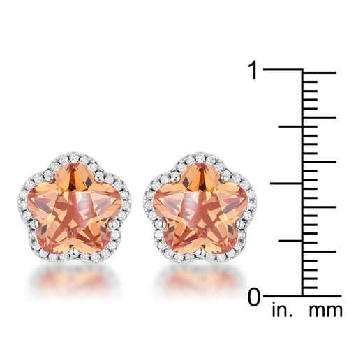 Floral Cut Champagne CZ Stud Earrings-JewelryKorner-com