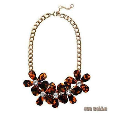 Flowers in Bloom - Our Tortoise Shell color Necklace - Get the matching Bracelet too-JewelryKorner-com