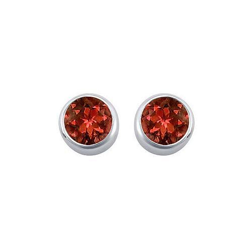 Garnet Bezel-Set Stud Earrings : .925 Sterling Silver - 2.00 CT TGW-JewelryKorner-com