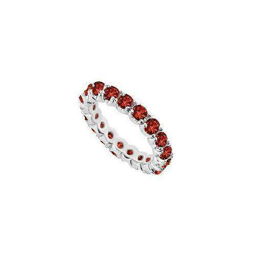 Garnet Eternity Band : 14K White Gold - 2.00 CT TGW-JewelryKorner-com