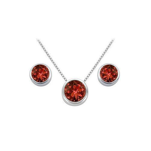 Garnet Pendant and Stud Earrings Set in Sterling SIlver 2.00 CT TGW-JewelryKorner-com