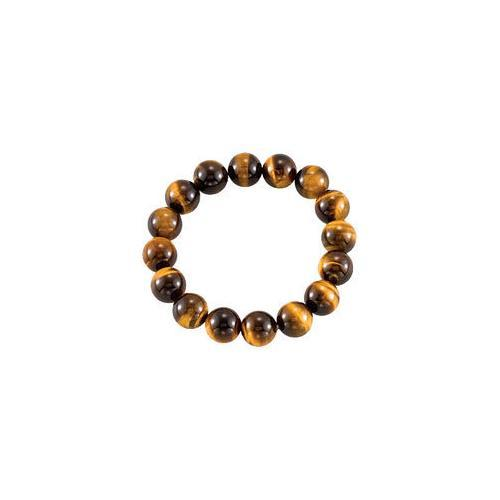 Genuine Tiger Eye Stretch Bracelet - 12.00 X 12.00 MM with 6.50 INCH-JewelryKorner-com