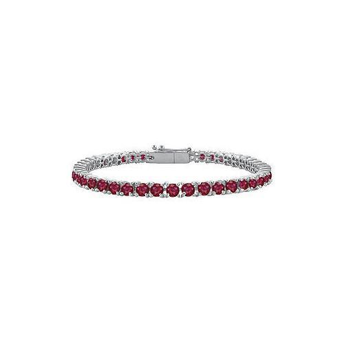 GF Bangkok Ruby Prong Set Sterling Silver Tennis Bracelet 7.00 CT TGW-JewelryKorner-com