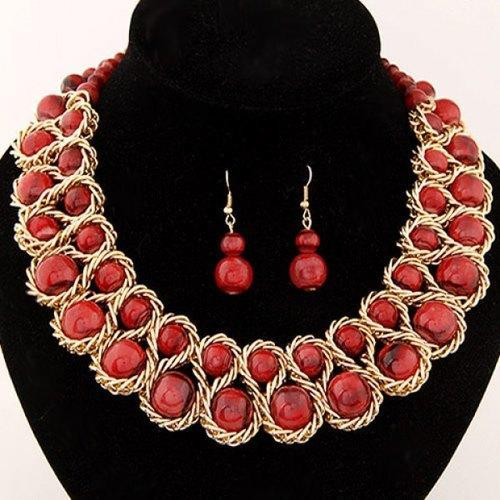 Glamourous Women's Solid Color Beads Embellished Necklace and A Pair of Earrings - Red-JewelryKorner-com