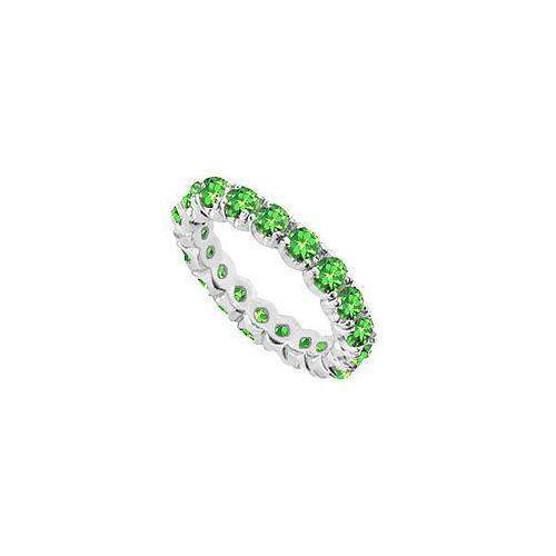 Green Garnet Eternity Band : 14K White Gold - 2.00 CT TGW-JewelryKorner-com