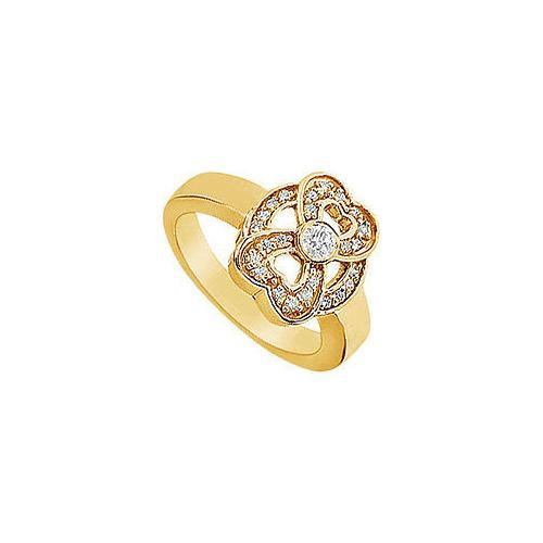 Heart Diamond Ring : 14K Yellow Gold - 0.33 CT Diamonds-JewelryKorner-com