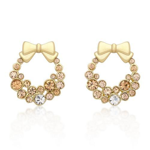 Holiday Wreath Champagne Crystal Earrings-JewelryKorner-com