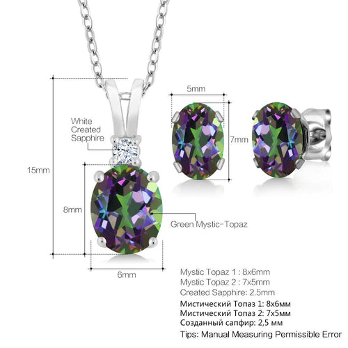 GemStoneKing 3.55 Ct Oval Rainbow Fire Mystic Topaz Pendant Necklace Earrings Set 925 Sterling Silver Jewelry Sets For Women-JewelryKorner