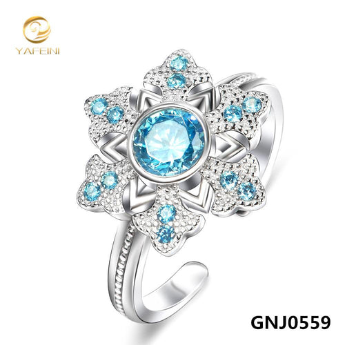 Genuine 925 Sterling Silver Gemstone Jewelry Ring Sapphire Jewelry Blue Ring For Women Adjustable Size GNJ0559-JewelryKorner