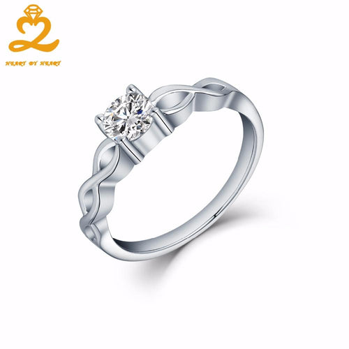 Heart By Heart Infinity White Gold Rings for Women Men 925 Sterling Solid Silver Jewelry Natural Stone Romantic Wedding Rings-JewelryKorner