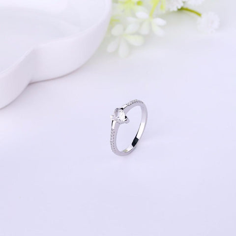 Heart By Heart Sterling Silver Women Men's Ring Weddings Gift Best Seller List with Love Heart Topaz Gem stone Fine Jewelry-JewelryKorner