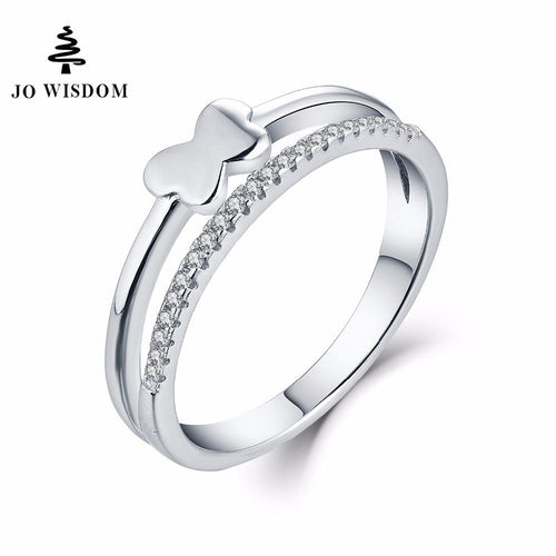JO WISDOM Bridal Set Rings 925 Silver Jewelry Simple Rings for Women Wedding Ring Engagement Ring for Women Best Gift for Lover-JewelryKorner