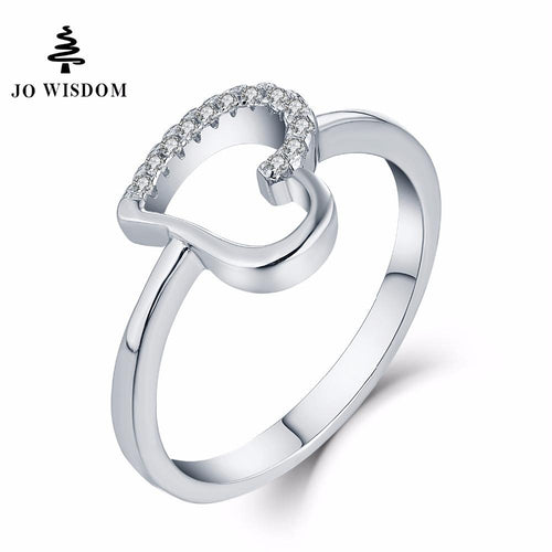 JO WISDOM Love Heart Rings Heart Jewelry Silver Rings for Women Wedding Jewellery Acessorios Best Gift for Lover-JewelryKorner