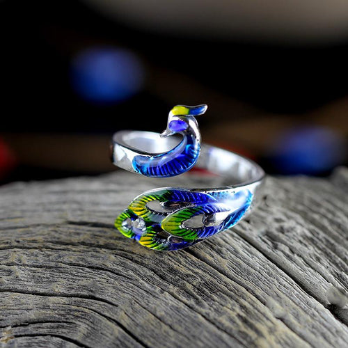 KJJEAXCMY boutique jewelry, 999 Full silver retro rich Chinese style lady burn blue Seiko peacock ring-JewelryKorner