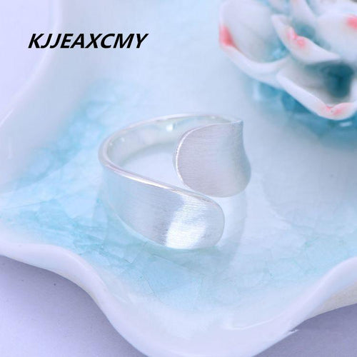 KJJEAXCMY boutique jewelry, S925 sterling silver, simple fashion, plain silver brushed matte, open ring-JewelryKorner