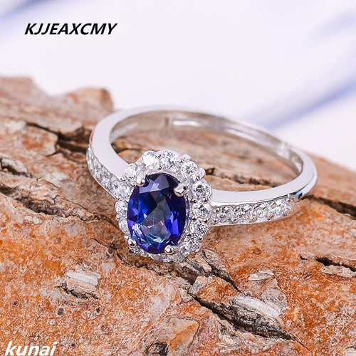 KJJEAXCMY Fine jewelry 925 silver inlay Tanzania color Topaz Topaz Sterling Silver Ring Ring female models-JewelryKorner