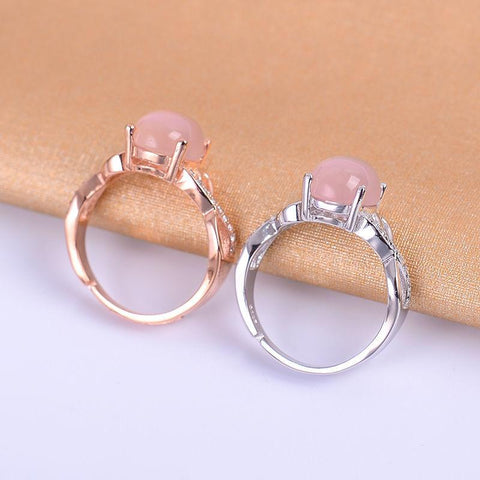KJJEAXCMY Fine jewelry Colorful jewelry female paragraph 925 silver inlaid natural powder crystal ring, simple and generous whol-JewelryKorner
