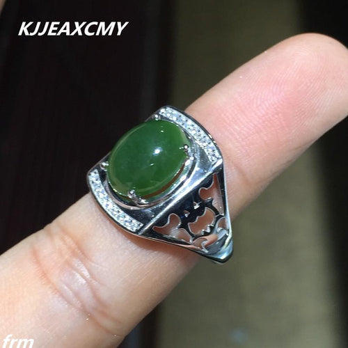 KJJEAXCMY Fine jewelry Jasper Men's Ring wholesale wholesale 925 sterling silver professional natural treasure-JewelryKorner