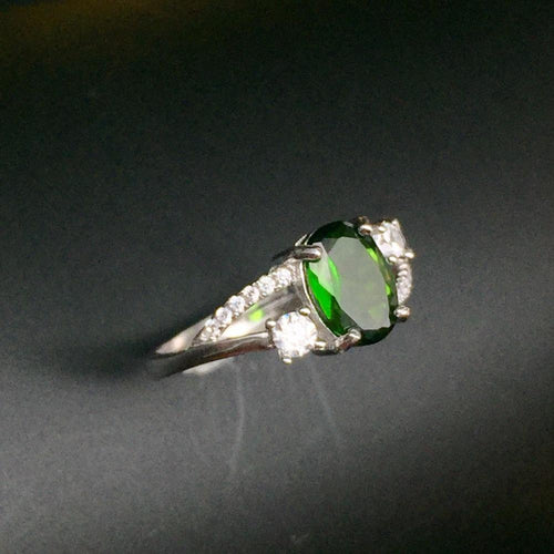 KJJEAXCMY Fine jewelry, Multicolored jewelry 925 silver inlay natural diopside shinv ring simple wholesale-JewelryKorner