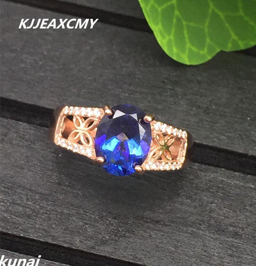 KJJEAXCMY Fine jewelry Multicolored jewelry 925 silver inlay natural Tanzanite Topaz Ring simple wholesale female models-JewelryKorner