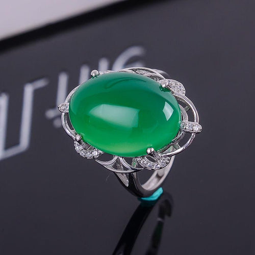 KJJEAXCMY Fine jewelry Multicolored jewelry women 925 silver inlay natural green chalcedony ring simple wholesale-JewelryKorner