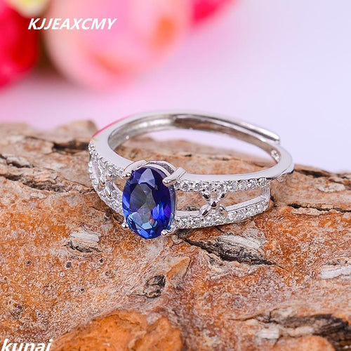KJJEAXCMY Fine jewelry Sterling Silver Ring color jewelry 925 silver inlay Tanzania color Topaz Ring female models-JewelryKorner