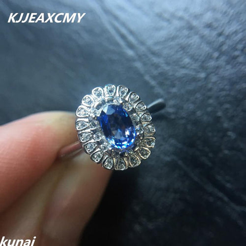 KJJEAXCMY Fine jewelry Wholesale 925 silver inlay natural Topaz Ring women's natural Tanzanite ring female models-JewelryKorner