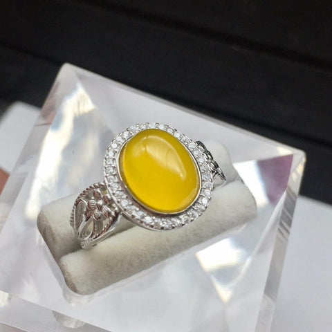 KJJEAXCMY Fine jewelry Wholesale colorful jewelry, hand ornaments, 925 silver inlaid natural topaz, pith ring, female models-JewelryKorner