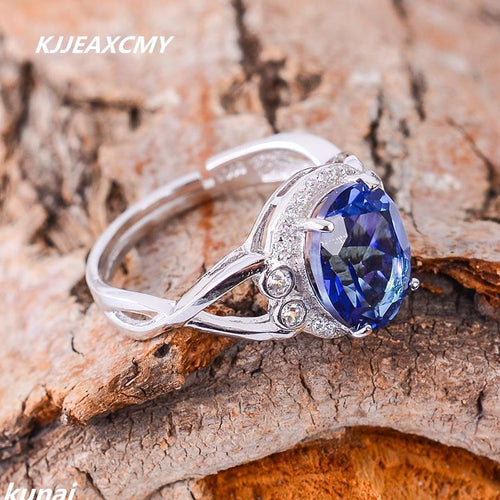 KJJEAXCMY Fine jewelry Wholesale custom ladies STERLING SILVER RING 925 silver inlay Tanzania color Topaz Ring female models-JewelryKorner
