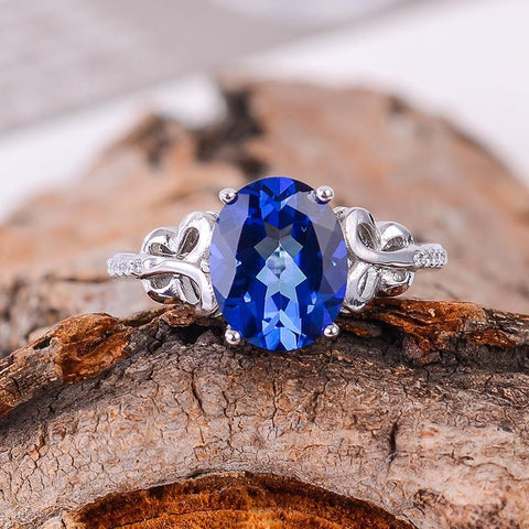 KJJEAXCMY Fine jewelry Wholesale ladies ring color jewelry 925 silver inlay Tanzania color Topaz Ring-JewelryKorner
