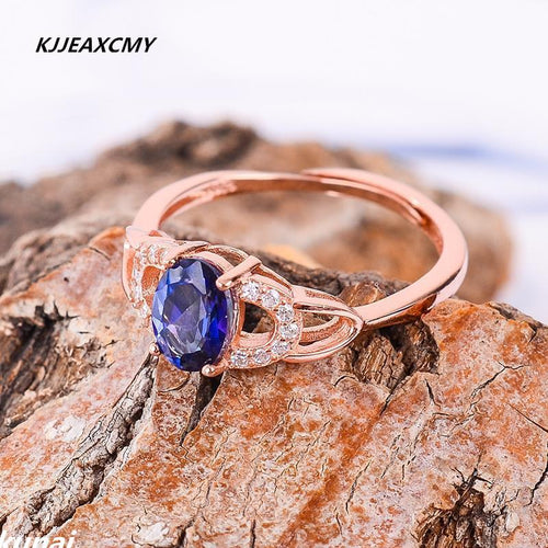 KJJEAXCMY Fine jewelry Wholesale women's rings, 925 silver inlay, natural Tan stone rings-JewelryKorner