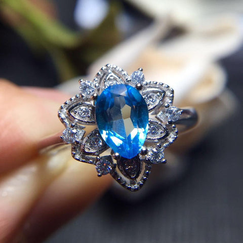 KJJEAXCMY Fine jewelry Women's wholesale jewelry color jewelry 925 silver inlay natural Topaz Ring-JewelryKorner