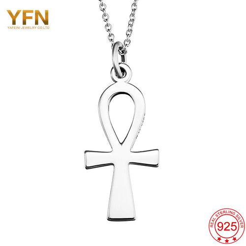 YFN Wholesale Egyptian Ankh Charms 925 Sterling Silver Cross Pendants Necklaces with Rolo Chain Fashion Jewelry Collares GNX8769-JewelryKorner