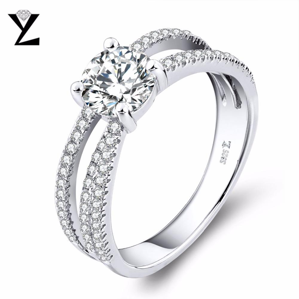 YL 925 Sterling Silver Topaz Rings Women Wedding Fine Jewelry Natural Topaz Stone Engagement Ring-JewelryKorner