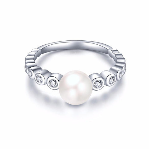 YL 925 Sterling Silver Wedding Rings for Women Engagement with Natural Freshwater Pearl Wholesale Fine Jewelry-JewelryKorner