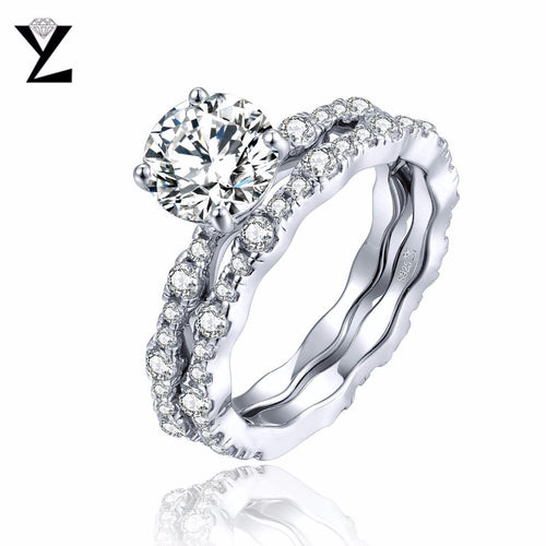 YL Bague Argent 925 Sterling Silver Ring Sets for Women Wedding Engagement Fine Jewelry Topaz Natural Stone Couple Promise Ring-JewelryKorner