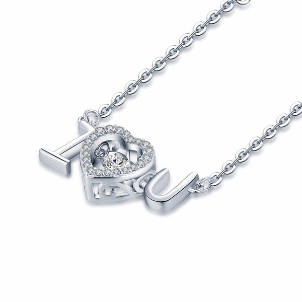 YL Love Heart 925 Sterling Silver Topaz Necklace for Women with Dancing Natural Topaz Stone Necklace Wedding Fine Jewelry-JewelryKorner
