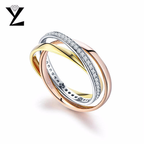 YL Silver 925 Sterling Silver Rose Gold Set of Rings Men Women Fine Jewelry Wedding Gold Jewelry-JewelryKorner