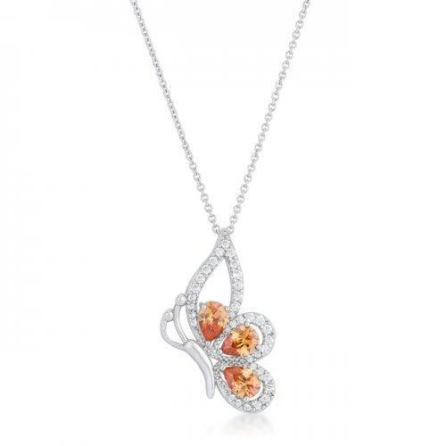Karen 2.8ct Champagne Cz Rhoidum Butterfly Drop Necklace (pack of 1 ea)-JewelryKorner-com
