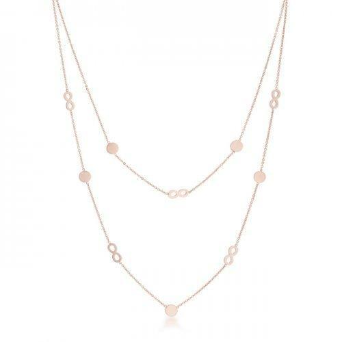 Krystal Rose Gold Stainless Steel Infinity Station Layer Necklace (pack of 1 ea)-JewelryKorner-com
