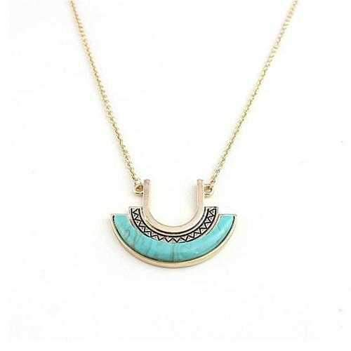 Love U To The Moon Long Turquoise Necklace-JewelryKorner-com