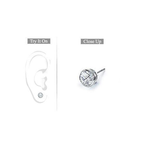 Mens 14K White Gold : Bezel-Set Round Diamond Stud Earrings 0.25 CT. TW.-JewelryKorner-com