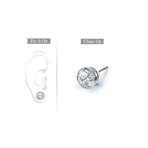 Mens 14K White Gold : Bezel-Set Round Diamond Stud Earrings 1.00 CT. TW.-JewelryKorner-com