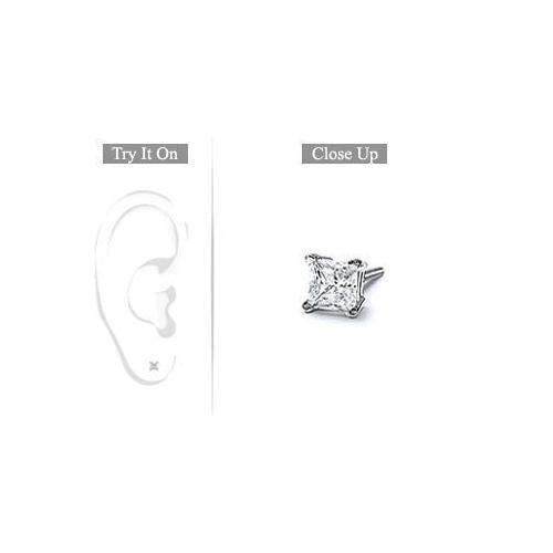 Mens 14K White Gold : Princess Cut Diamond Stud Earring - 0.15 CT. TW.-JewelryKorner-com
