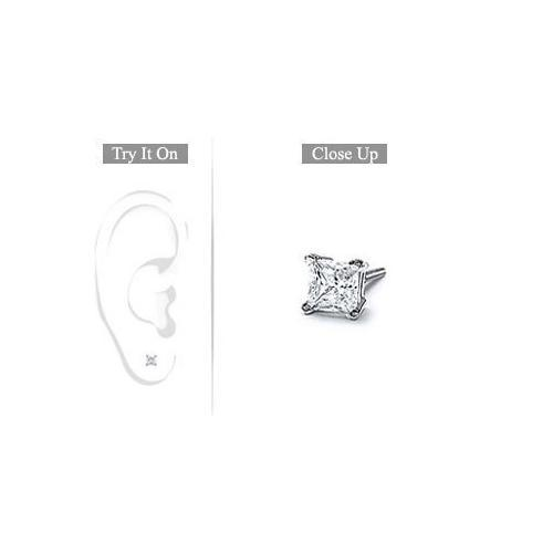 Mens 14K White Gold : Princess Cut Diamond Stud Earring - 0.25 CT. TW.-JewelryKorner-com