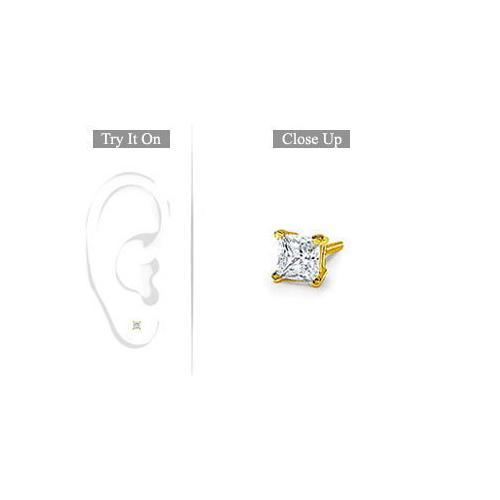 Mens 18K Yellow Gold : Princess Cut Diamond Stud Earring 0.15 CT. TW.-JewelryKorner-com