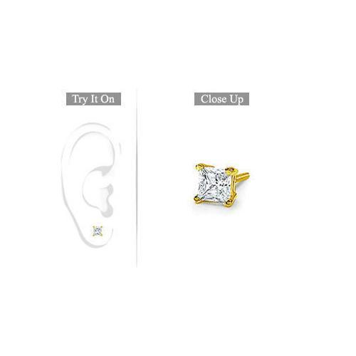 Mens 18K Yellow Gold : Princess Cut Diamond Stud Earring 0.33 CT. TW.-JewelryKorner-com