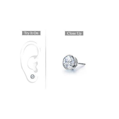 Mens Platinum : Bezel Set Round Diamond Stud Earring - 0.25 CT. TW.-JewelryKorner-com
